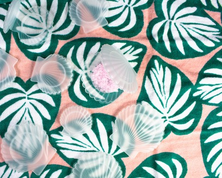 Lacons Shell-Cons Containers on a Palm Leaf Towel