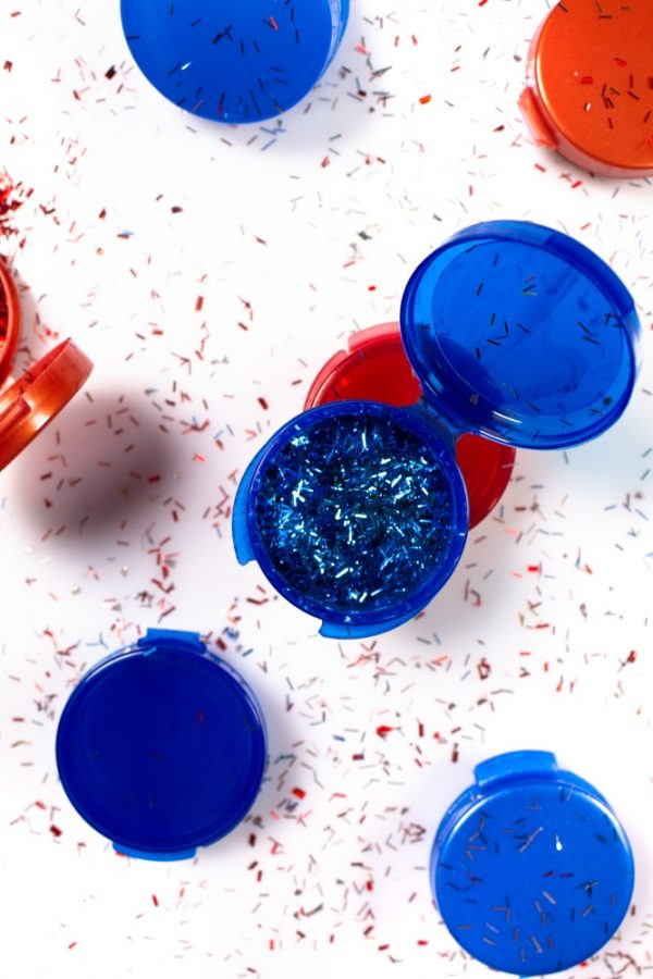 Red and Blue Plastic Containers with Red and Blue Glitter